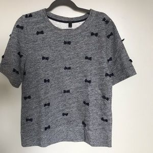 J Crew Short Sleeve Knit Top w/Crystal Bow Accent